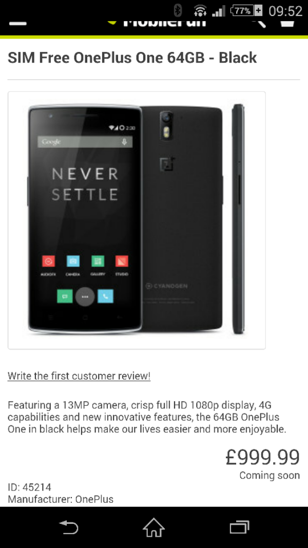 OnePlus One preorder with Mobile Fun