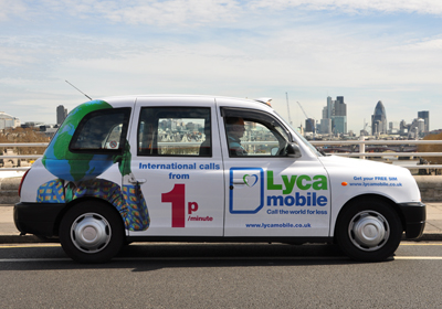 Lyca Mobile taxi advertising London 2011