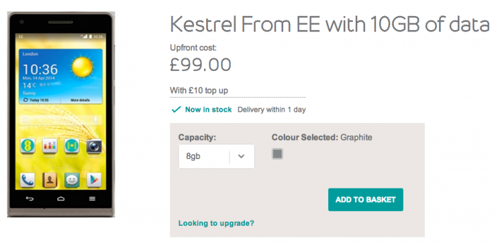 EE branded Kestrel phone now on sale