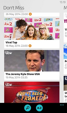 More TV on WP. Grab ITV Player