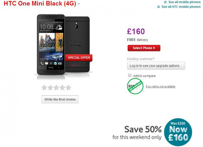 Vodafone offering up the HTC One mini for just £160