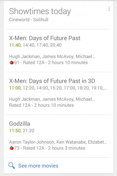 Google Now Cinema TImes