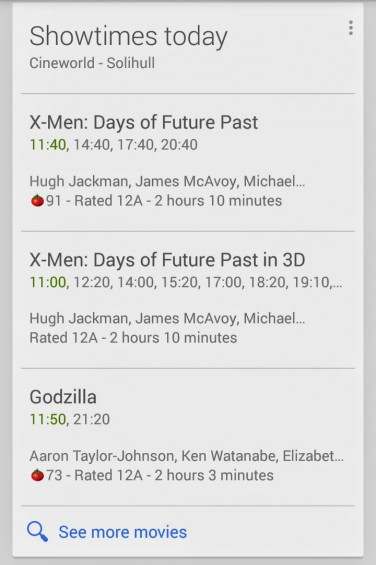 Google Now Cinema TImes