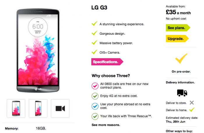LG G3 launching on Three UK 26th June