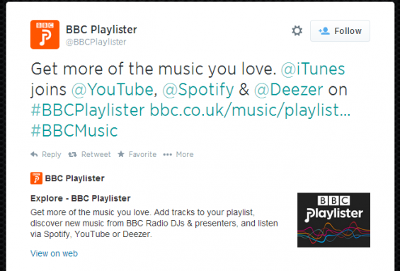 BBC Playlister can now export to iTunes
