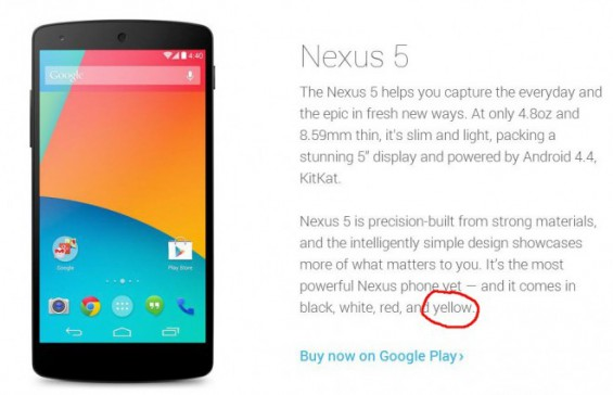 Nexus 5 to come in yellow?