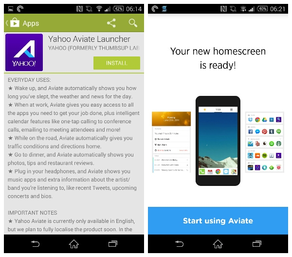 Aviate Launcher by Yahoo is now available