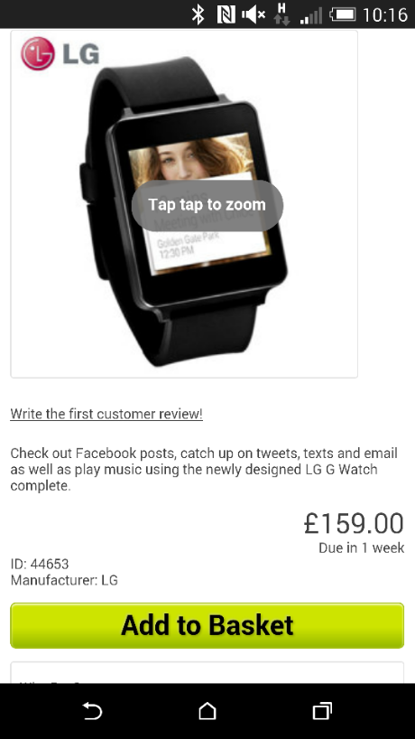 LG G Watch also available from Mobile Fun