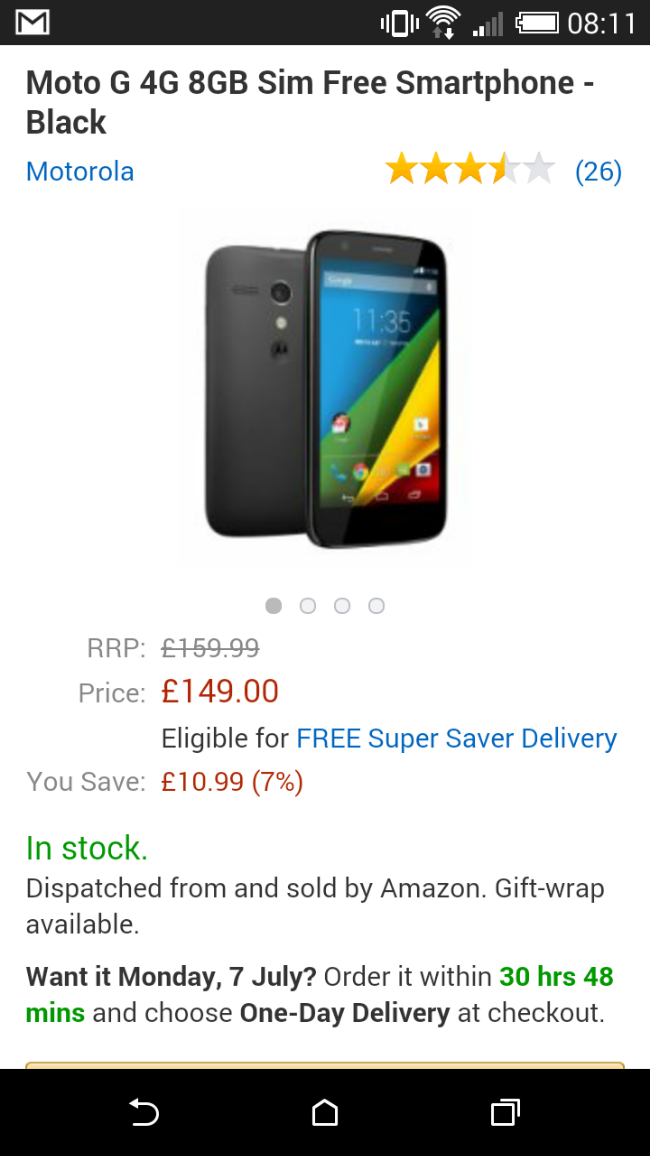 Moto G 4G   £149 at Amazon