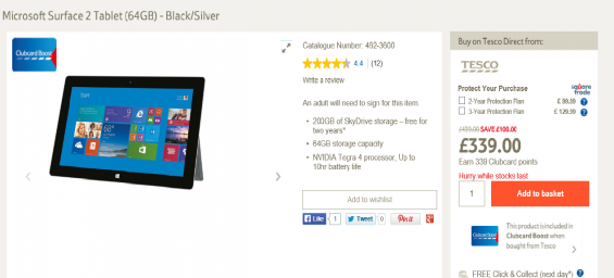 Microsoft Surface 2 price reduction at Tesco
