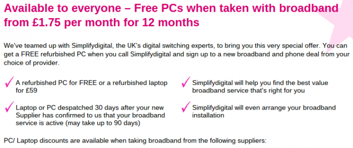 Free PCs with new TalkTalk broadband package