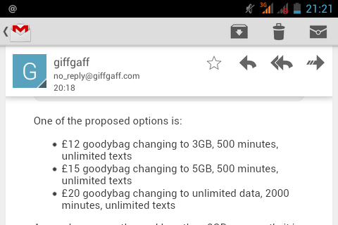 giffgaff considering package changes