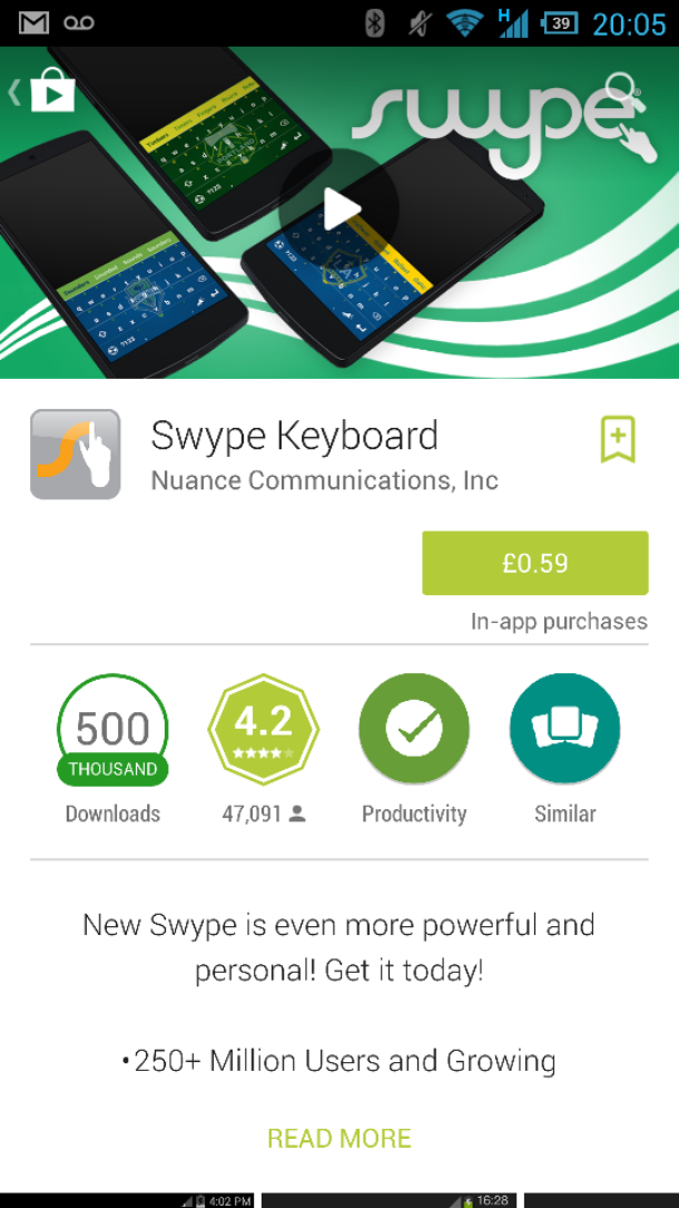 Swype down in price
