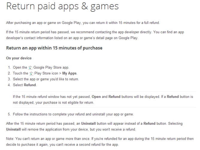The Google Play Store seems to allow you two hours to refund purchases now
