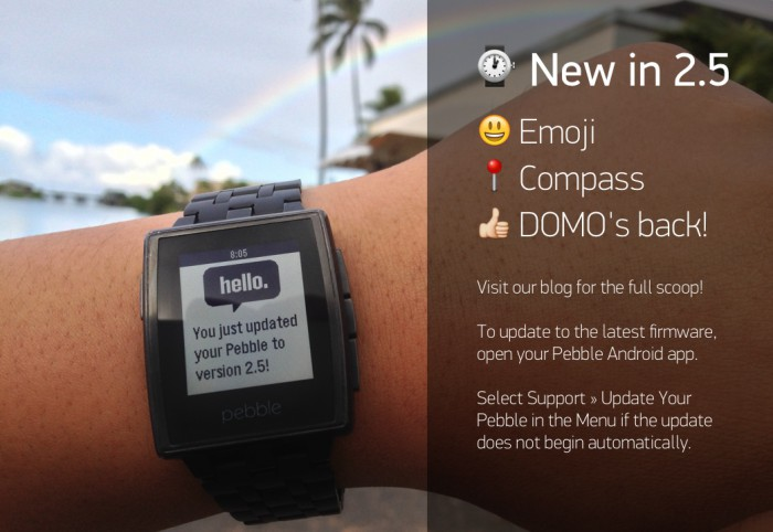 The latest Pebble firmware update adds emoji support