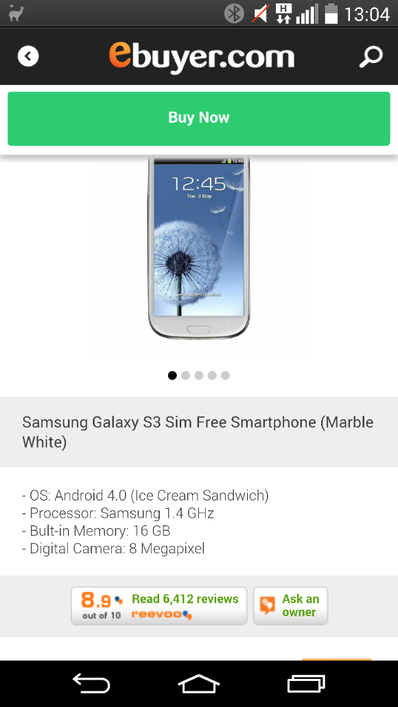 Samsung Galaxy S3   SIM Free, £199.98