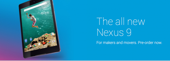 Nexus 9 pre order at the play store