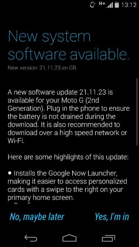 The new Moto G gets an update to add Google Now