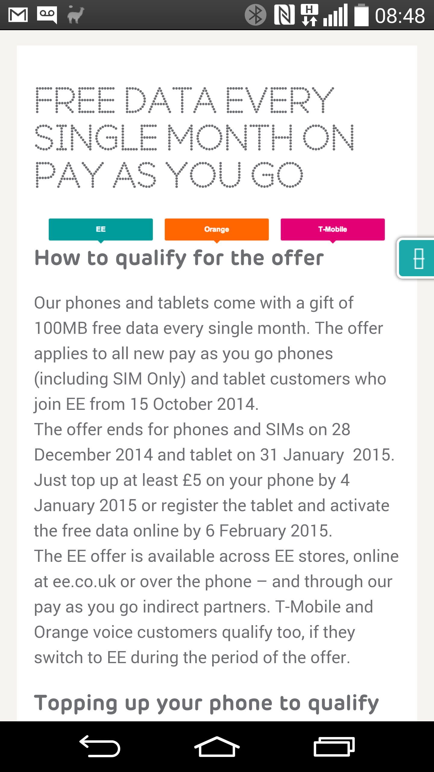 Free data on EE every month