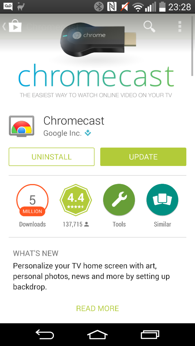 Chromecast app updated, now add your own backdrops