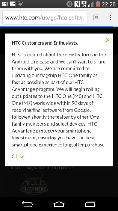 HTC Lollipop news