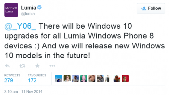 Microsoft confirms WP10 will come to all WP8 Lumia handsets