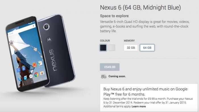 UK Nexus 6 pricing revealed