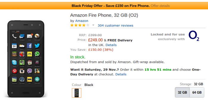 Black Friday   Amazon Fire Phone £150 off