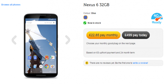 Nexus 6 available with several networks