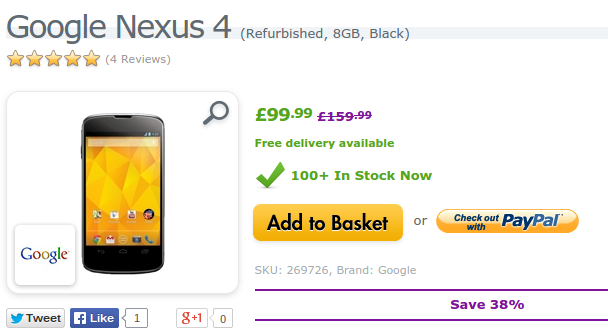 Deal   Reconditioned Google Nexus 4