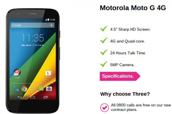 Moto G 4G, now on Three