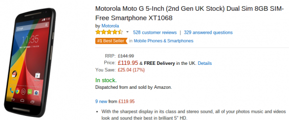 Moto G 2nd gen down in price