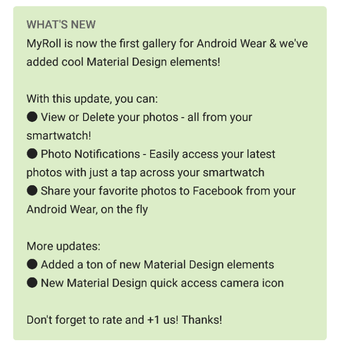 MyRoll Gallery now supports Android Wear