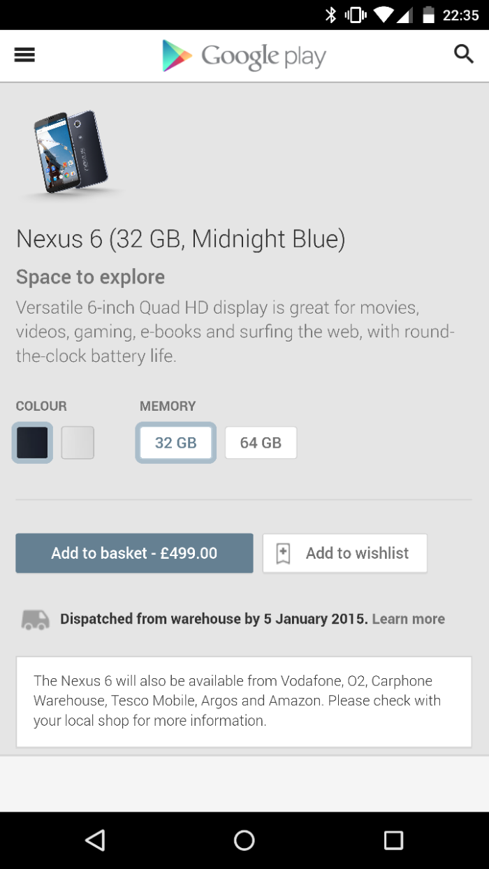 Nexus 6 availability update