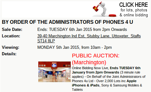 Phones 4u stock getting auctioned off again online