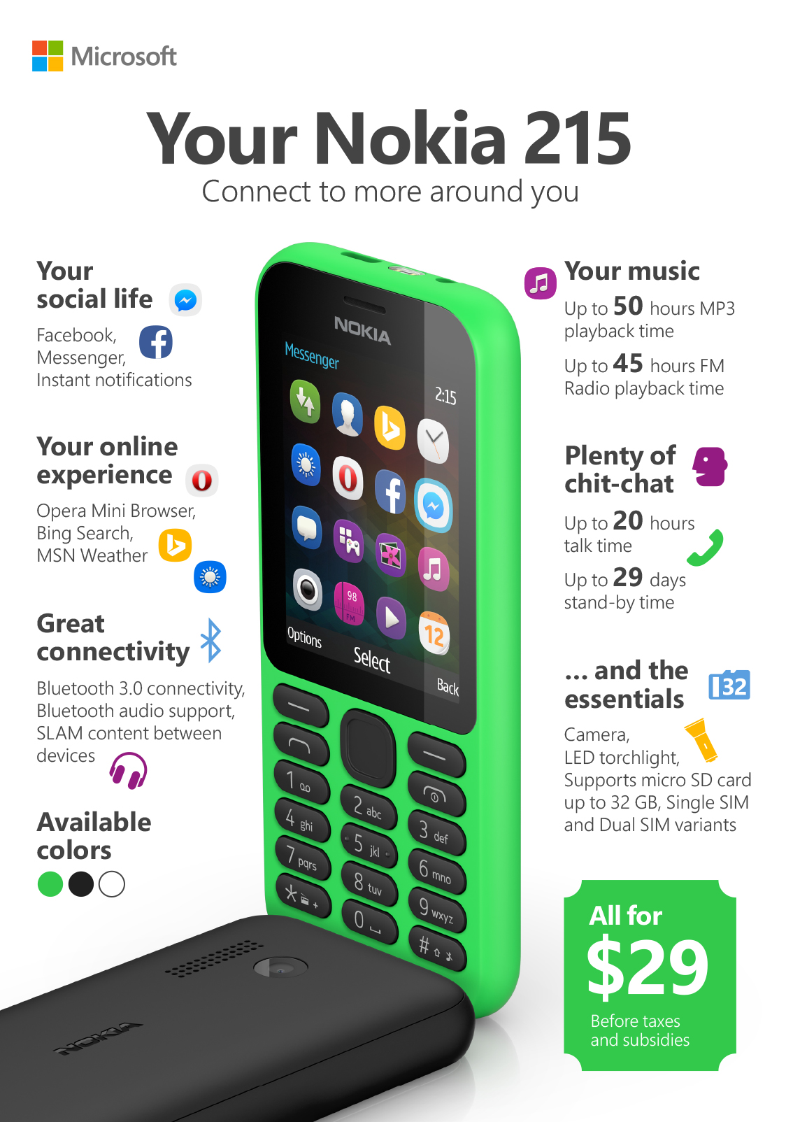 CES   Nokia 215 announced. Welcome back, Microsoft smartphone