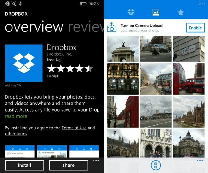 The day has come, Dropbox is available for Windows Phone