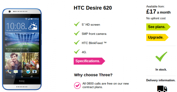 HTC Desire 620 now available on Three