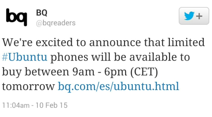 BQ to sell the Ubuntu Phone tomorrow