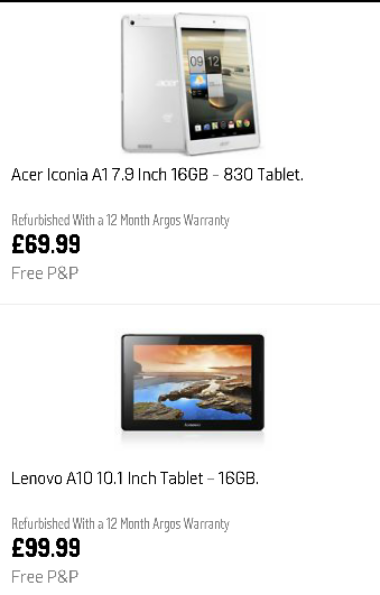 Refurbished tablet deals from Argos