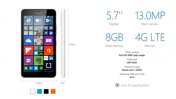Lumia 640 XL Spec 700px