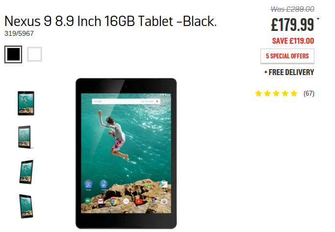 Google Nexus 9 (16GB) now £179.99 at Argos
