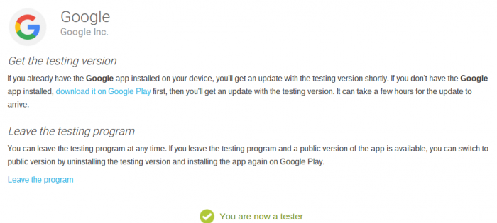 Google App   Become a beta tester