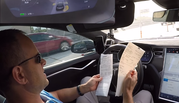 Inside a self driving car at 75mph whilst the driver is browsing the web and doing paperwork