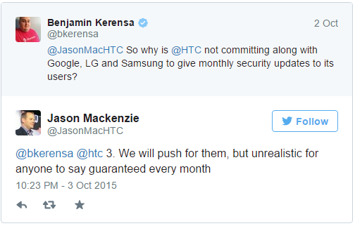 HTC unable to commit to monthly security updates