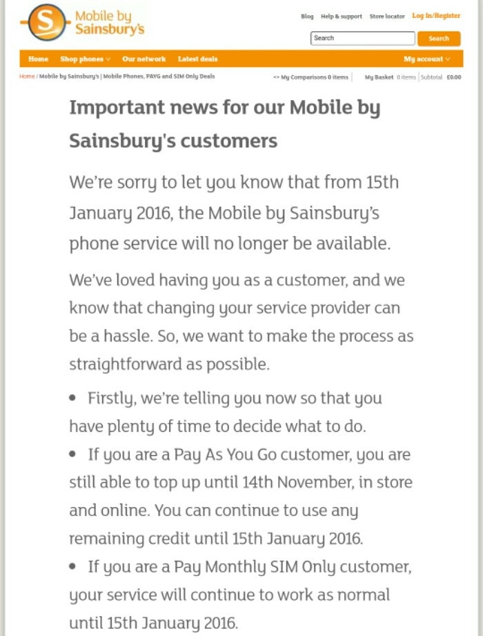 Goodbye Sainsburys Mobile