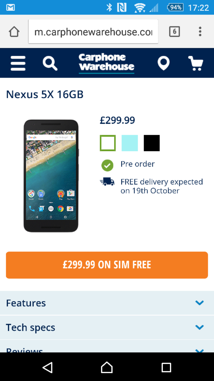 Nexus 5X preorders at Carphone Warehouse