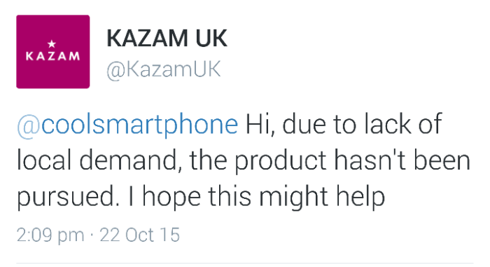 Ultra thin KAZAM Tornado 552L cancelled