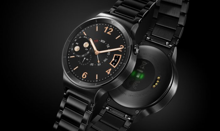 Huawei Watch HQ photos Face and back Black with steel strap JPG 20150804