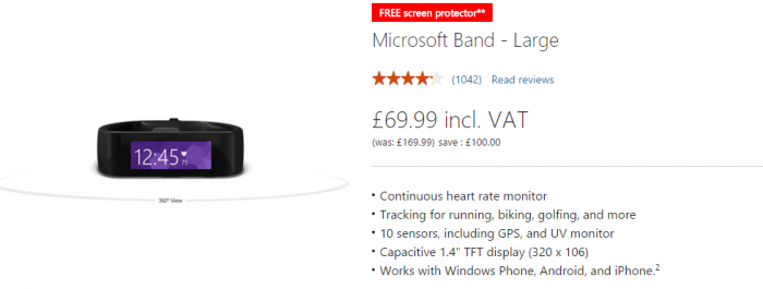 Original Microsoft Band reduced again   now £69.99